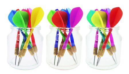 bocaux en verre: Fl�chettes en bocaux de verre sur fond blanc