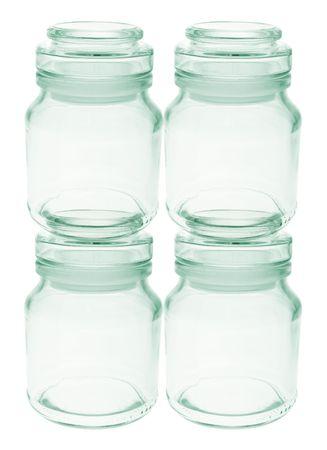 bocaux en verre: Vide pots de verre sur fond blanc Banque d'images