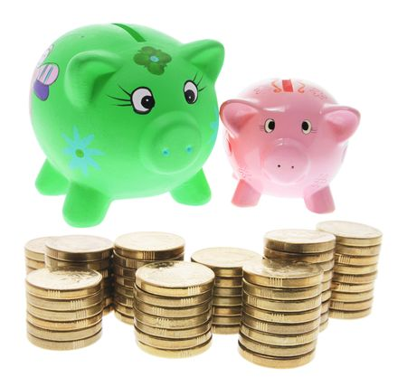 Piggy Banks and Coins on White Background photo