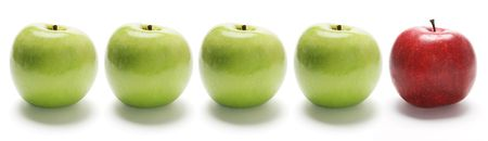 A Row of Apples on Isolated White Background photo