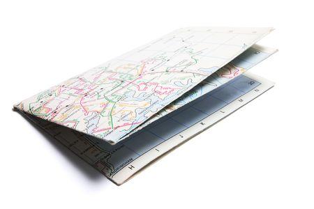 fold: Street Map on Isolated White Background Stock Photo