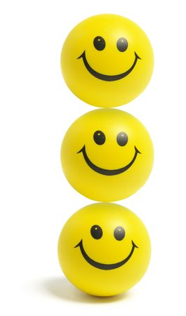 happy faces: Smiley Balls on Isolated White Background Stock Photo