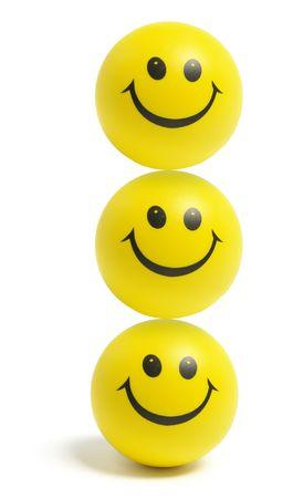smiley faces: Smiley Balls on Isolated White Background Stock Photo