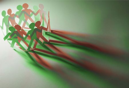 Paper Dolls in Red and Green Tones photo
