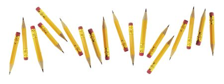 writing implements: Short Pencils on Isolated White Background Stock Photo