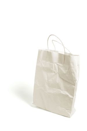 discarded: Crumpled Shopping Bag on White Background