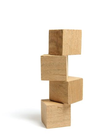 wood blocks: Stack of Wooden Blocks on White Background