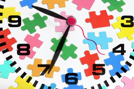 punctuality: Composite of Clock and Jigsaw Puzzle