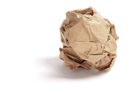 Papierball on Isolated White Background Standard-Bild