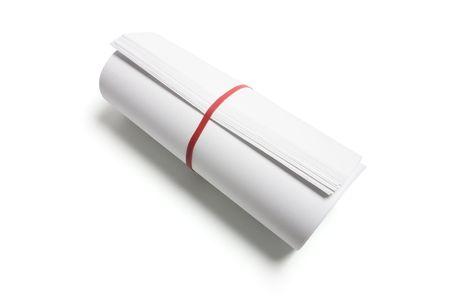 rubberband: Rollo de papeles sobre fondo blanco