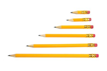 writing implements: Row of Pencils on White Background