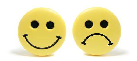 caras tristes: Imanes de nevera de Smiley sobre fondo blanco