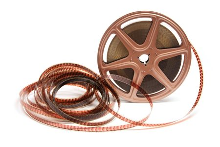 out of production: Movie Film Reel on White Background Stock Photo