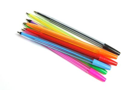 ball pens stationery: Bol�grafos sobre fondo blanco Foto de archivo