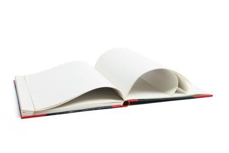 note book: Aperto nota Prenota su sfondo bianco  Archivio Fotografico