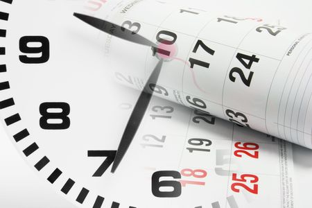 Composite of Calendar Pages and Clock Stock Photo - 5797886