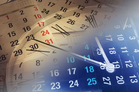 precisely: Composite of Clock and Calendar Pages Stock Photo