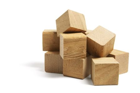 wood block: Pile of Wooden Blocks on White Background