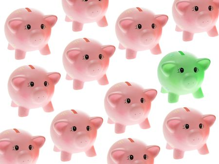 thrifty: Piggy Banks on White Background Stock Photo
