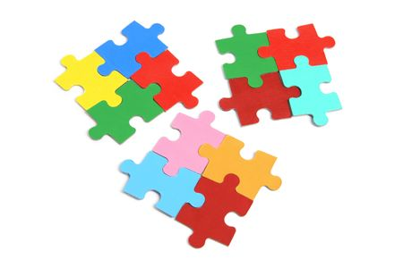 Jigsaw Puzzle Pieces on White Background photo