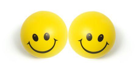 Smiley Balls on Isolated White Background photo