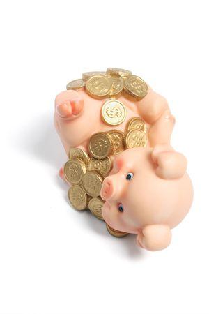 piggybank: Piggybank with Coins on White Background Stock Photo