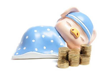 Piggybank and Coins on White Background Stock Photo - 5952079