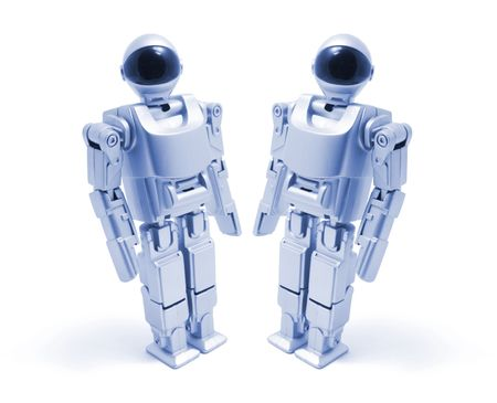 Toy Robots in Blue Tone on White Background Stock Photo - 5991065