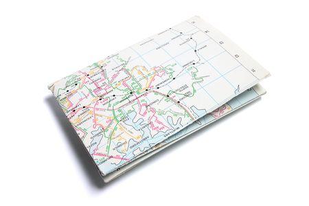 Folded Street Map on Isolated White Background Stock Photo - 6010896