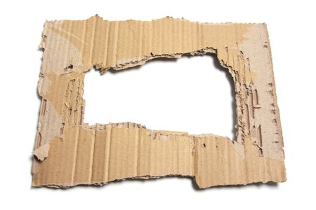 Soiled Cardboard with Hole on White Background photo