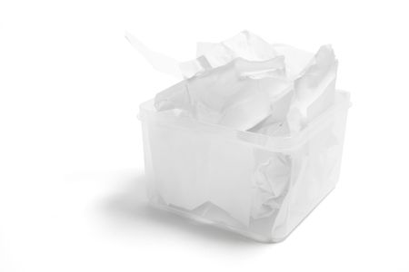 scrunched: Waste Papers in Plastic Box on White Background Stock Photo