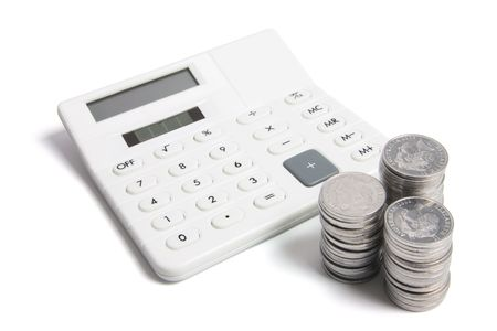 legal tender: Calculator and Coins on White Background