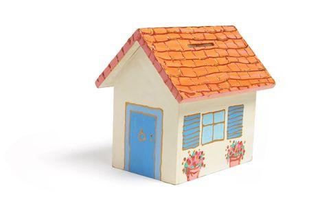 money box: House Money Box on Isolated White Background