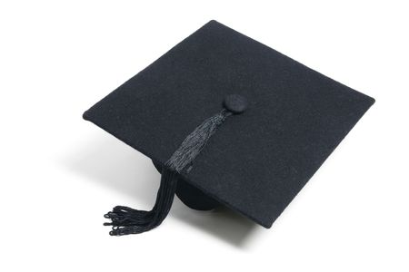 Mortarboard on Isolated White Background photo