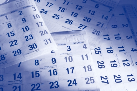 Close Up of Calendar Pages in Blue Tone Stock Photo - 6010922