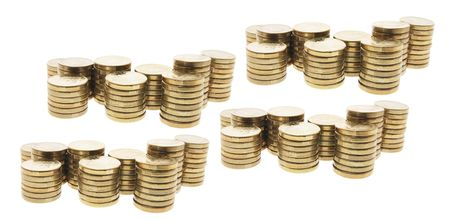 legal tender: Stacks of Coins on Isolated White Background Stock Photo