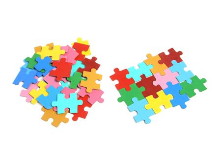 linkage: Jigsaw Puzzle Pieces on White Background Stock Photo
