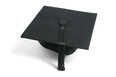 mortar hat: Mortarboard on Isolated White Background