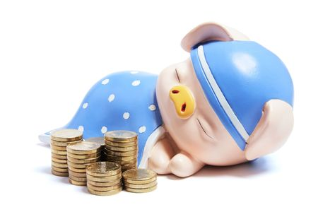 Piggybank and Stacks of Coins on White Background Stock Photo - 6042065