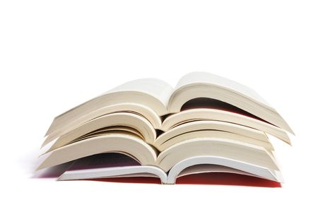 Stack of Open Books on White Background photo