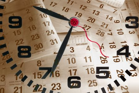 Composite of Clock and Calendar Pages photo