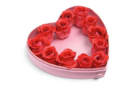 Red Roses in Heart-Shaped Box on White Background Stock Photo - 6042120