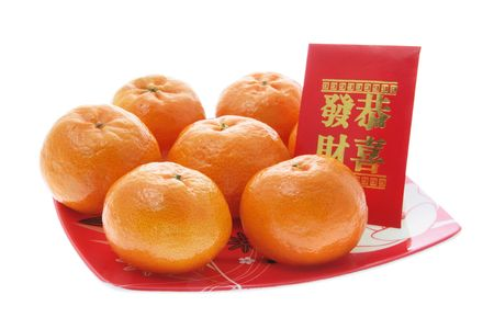 mandarin: Mandarin and Red Packet on Isolated White Background