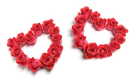 Roses Love Hearts on Isolated White Background Stock Photo - 6090398