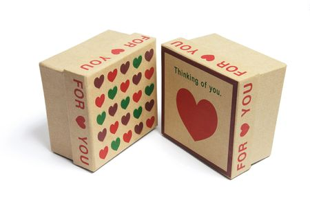 Love Heart Gift Boxes on White Background photo
