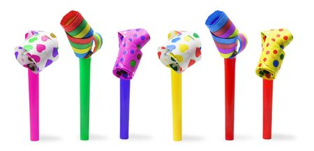 Party Blowers on Isolated White Background Stock Photo - 6090379