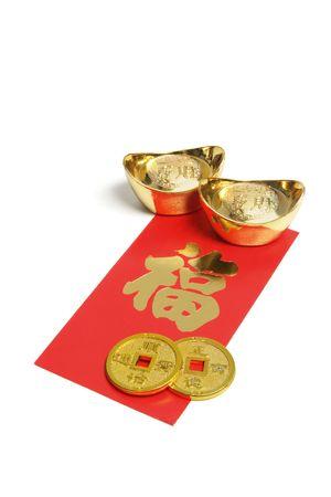 envelope decoration: Adornos de a�o nuevo chino sobre fondo blanco