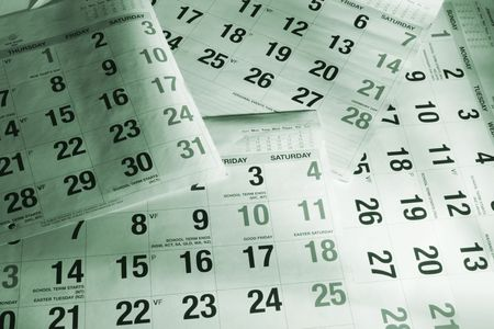 Close Up of Calendar Pages in Green Tone Stock Photo - 6114936