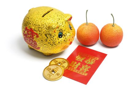 costum: Chinese New Year Decorations on White Background