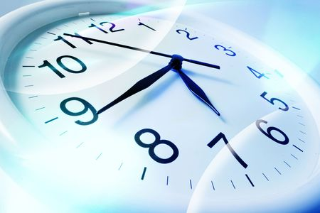 timely: Close Up of Wall Clock in Blue Tone Stock Photo